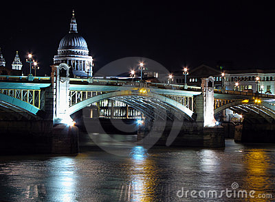 Night view St Paul s Cathedral and Southwark Br.