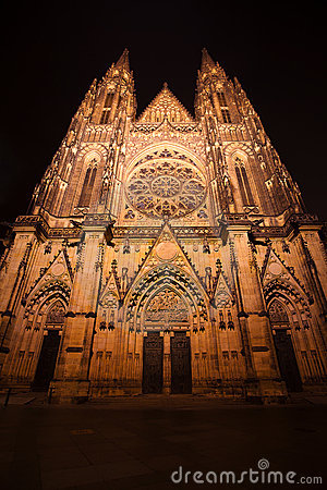 Night view of  St. Vitus Cathedral in Prague