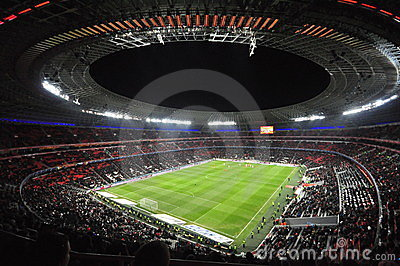 Night view  of the Stadium Donbass Arena Editorial Image