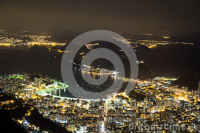 Night view of Sugarloaf in Rio de Janeiro Brazil