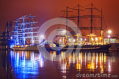 Night view of Tall Ships