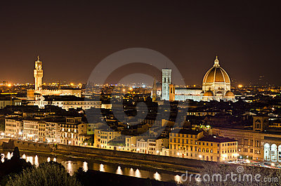Night view to Florence skyline, Tuscany, Italy