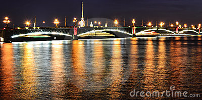 Night view of the Troitsky Bridge in St.Petersburg