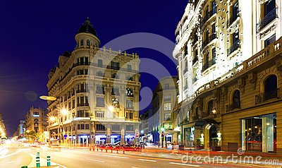 Night view of Via Laietana.  Barcelona