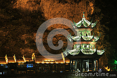 Night view in zhenyuan ancient town in guizhou china Editorial Stock Image