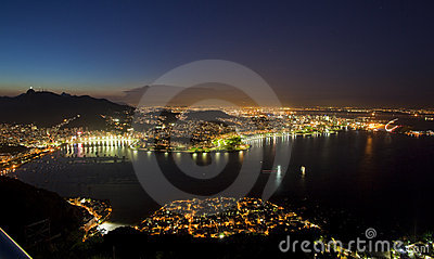 Night views of Rio De Janeiro Brazil