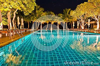 Night views of swiming pool