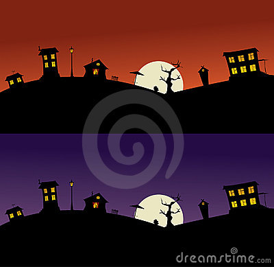Night village on a hill