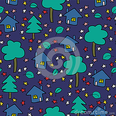 Night village seamless pattern