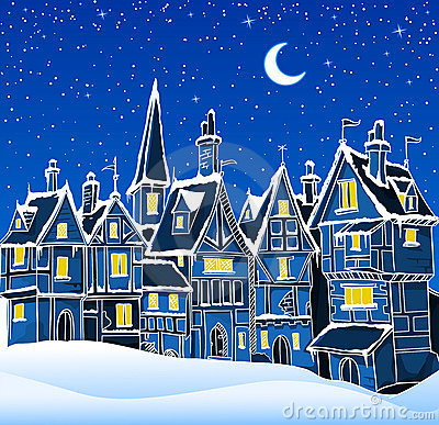 Night winter town