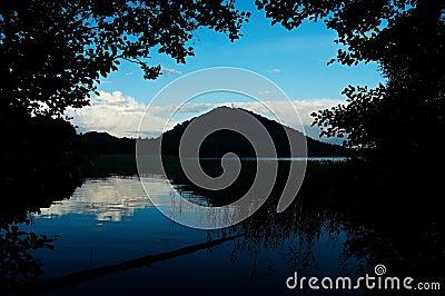 Nightfall near pond