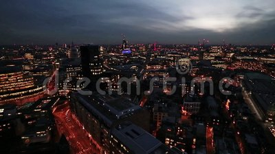 Nightfall over London. Time lapse footage of London after dark