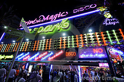 NIGHTLIFE IN LLORET DE MAR Editorial Stock Photo