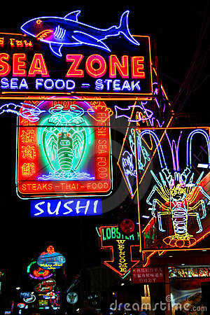 Nightlife restaurants, Pattaya, Thailand. Editorial Stock Image