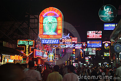 Nightlife at Walking Street Pattaya Thailand Editorial Image