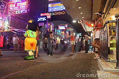 Nightlife at Walking Street Pattaya Thailand Editorial Stock Image