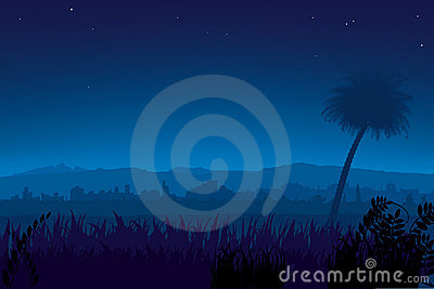 Nightly landscape (vector)