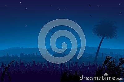 Nightly landscape (vector)