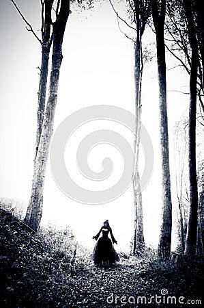 Nightmare woman in black dress