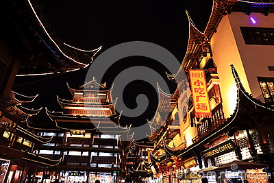 Nightscape of China historic town Editorial Photography