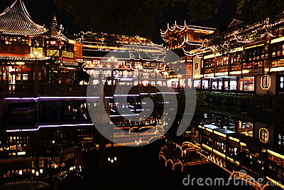 Nightscape of China historic town Editorial Image