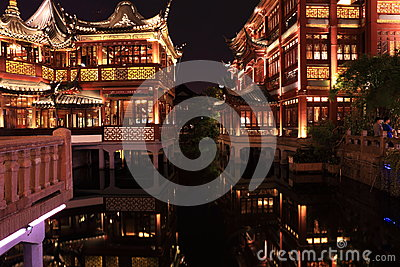 Nightscape of China historic town Editorial Stock Photo
