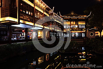 Nightscape of China historic town Editorial Stock Image