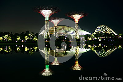 Nightscop of garden by the bay in singapore