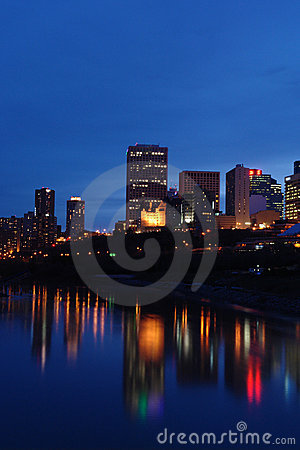 Nightshot of edmonton downtown