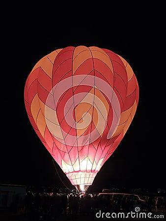 Nighttime hot air balloon glow