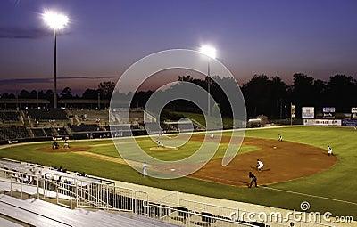 Nighttime Minor League Baseball Stadium Editorial Stock Image