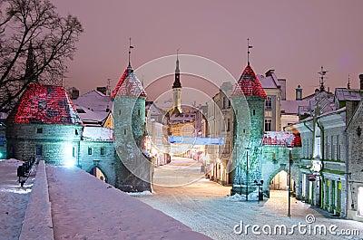 Nighttime old city of Tallinn