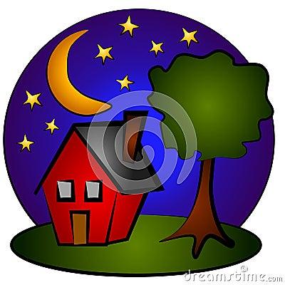 house clipart image. NIGHTTIME SCENE HOUSE CLIP ART