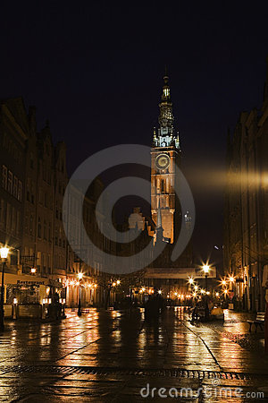 Nightview of Gdansk, Poland
