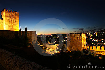 Nightview of Granada from the Alhambra