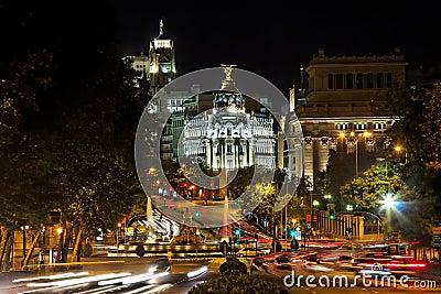 Nightview of Plaza de Cibeles in Madrid