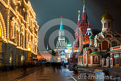 Nikolskaya street in Moscow at night time. Russia