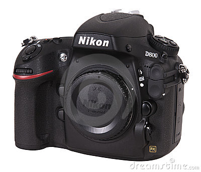 Nikon D800 SLR Digital Camera Isolated on White Editorial Photography