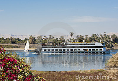 Nile river boat cruising through Luxor