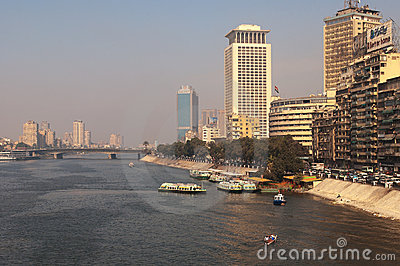 The Nile veiw in Cairo, 6 October Bridge Editorial Stock Image