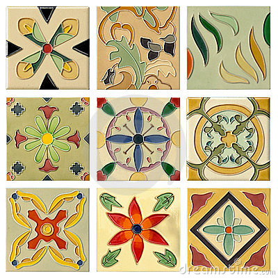 Free Nine Antique Flora Ceramic Brick Set Royalty Free Stock Photos - 19158808