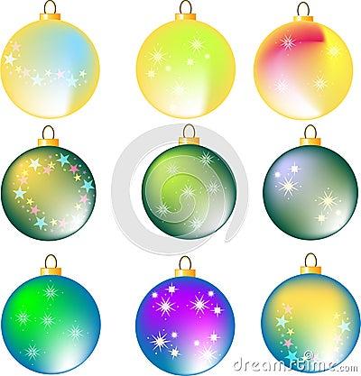 Nine assorted colorful christmas balls on white