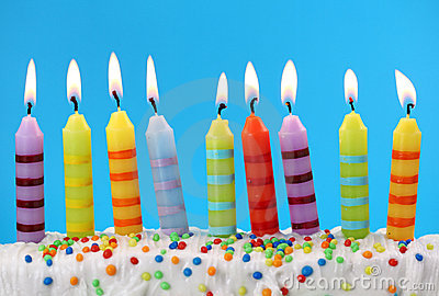 Nine birthday candles