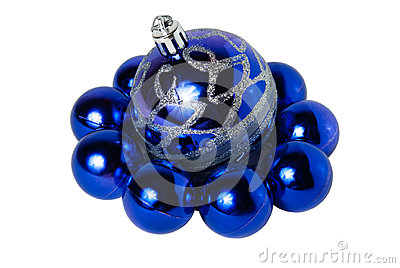 Nine blue Christmas balls