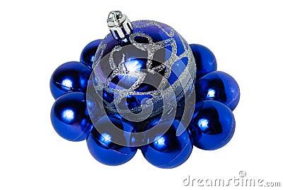 Nine blue Christmas balls