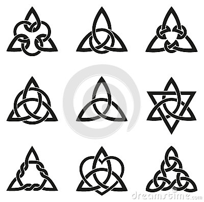 Free Nine Celtic Triangle Knots Stock Image - 52008631
