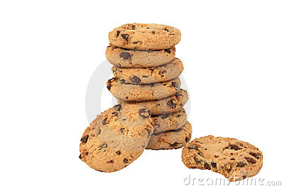 Nine Chocolate Chip Cookies Isolated On A White Ba