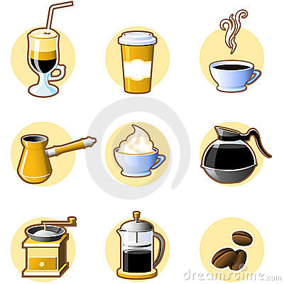 Free Nine Coffee Icons Royalty Free Stock Photo - 4878005