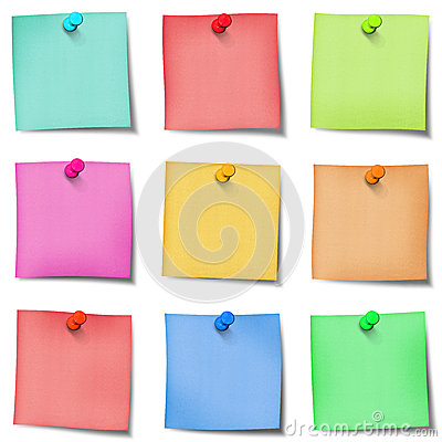 Free Nine Colour Post It Note With Pins Royalty Free Stock Image - 43250536