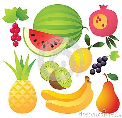 Free Nine Fruit Icons Royalty Free Stock Photography - 8173347